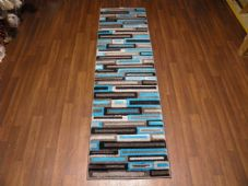 Runners 60x220cm Aprox 8ft Hand Carved Super Quality Brick Design Grey/Teal Rug